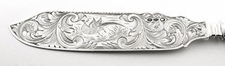 #93151 - Coin Silver by Maker Henry David New York c1845 CAKE SAW Hollow Handle mono LMP