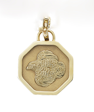 #91819 - Necklaces by Grainger Mc Koy 14K Gold Quail on 14K Gold Octagon Pendant with  Sterling Silver Omega