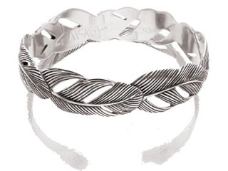 #56180 - Bracelets by Grainger Mc Koy BANGLE SILVER WIDE FEATHER
